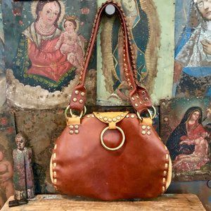 HAND LACED BROWN LEATHER STUDDED SHOULDER BAG